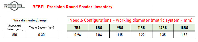 REBEL Round shader tattoo cartridge inventory chart - Killer Silver