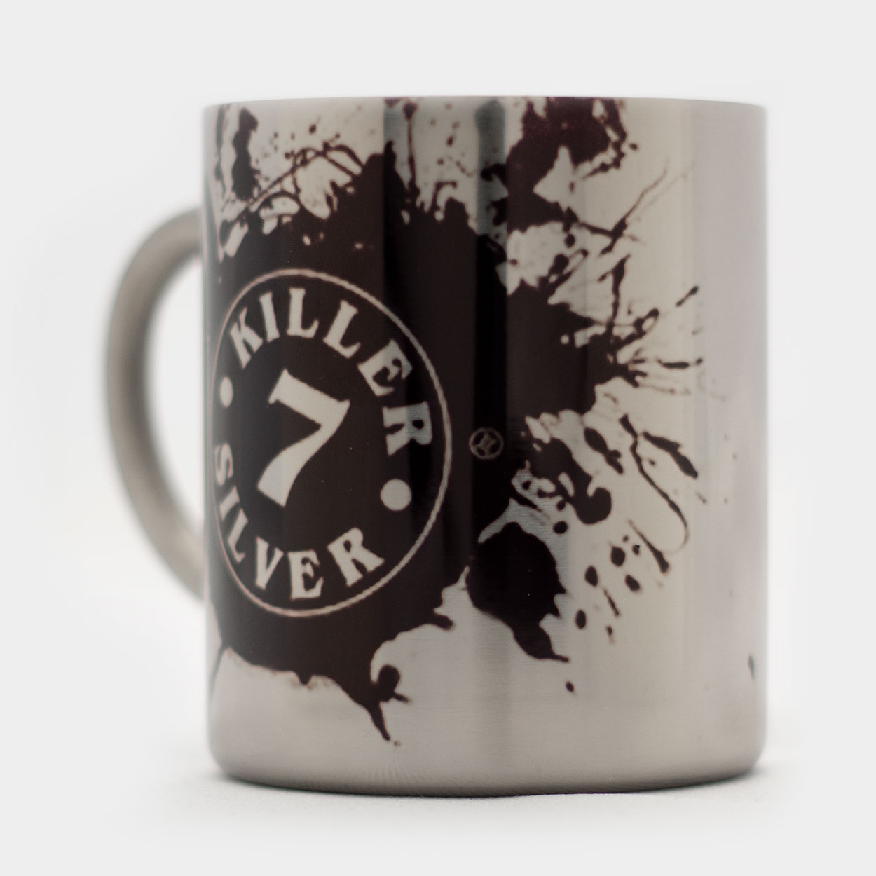 Metal Coffee Mug-BLACK Logo-Merchandise-Killer Silver