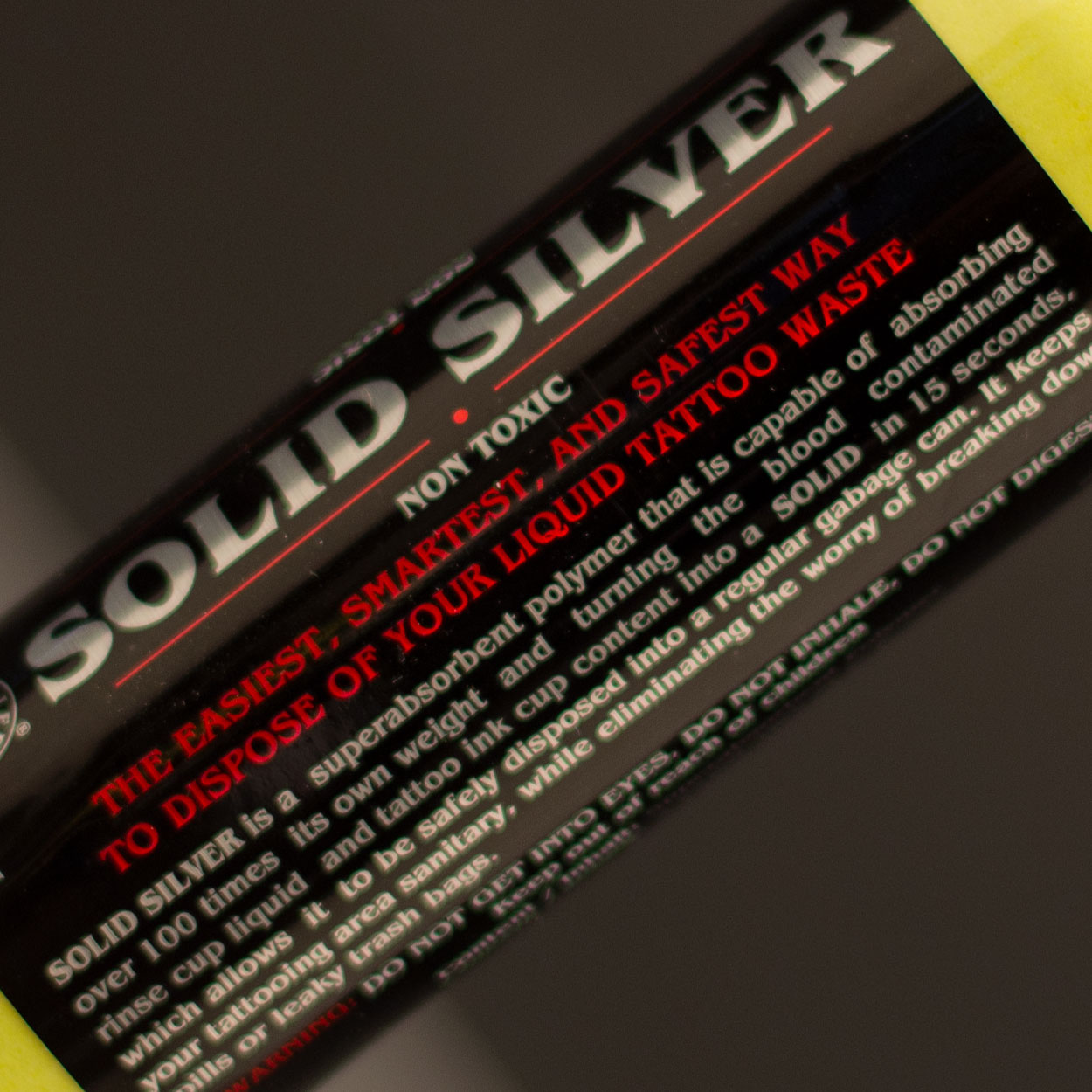 Solid Silver - tattoo waste management - solidifier - rinse cup - 4 oz - super absorbent polymer - Killer Silver