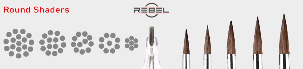 Round shader tattoo needle configurations compare to paint brushes - REBEL - Killer Silver