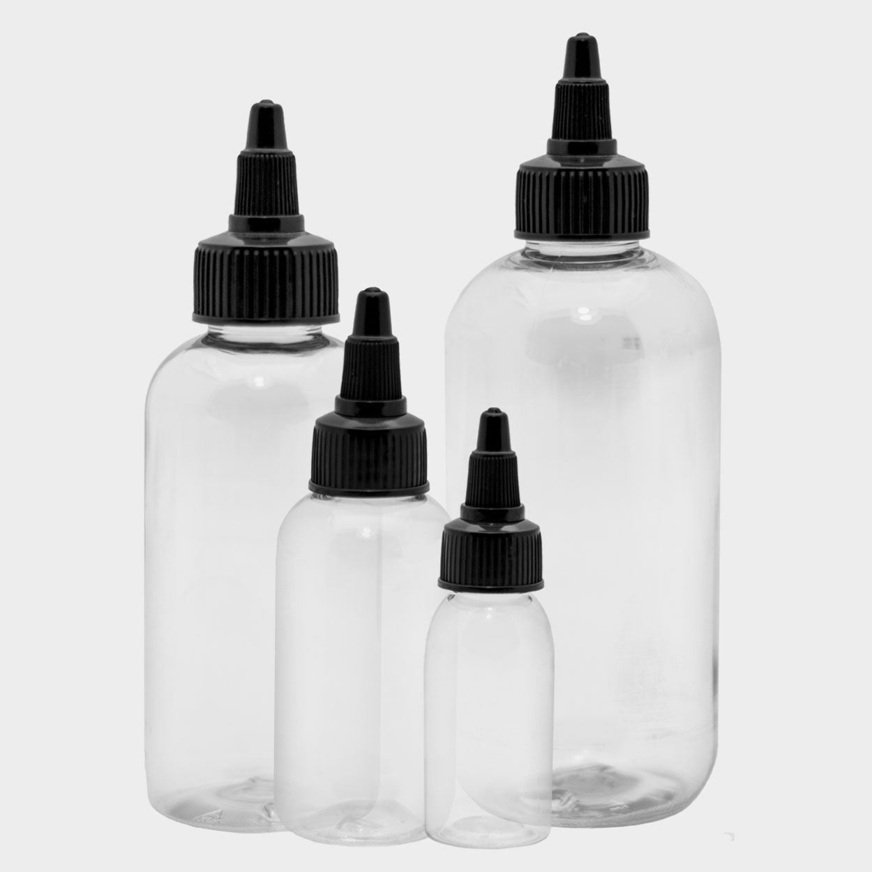 Empty Bottles - Boston Round - with liner and Black Twist Top - Tattoo Supply - Killer Silver