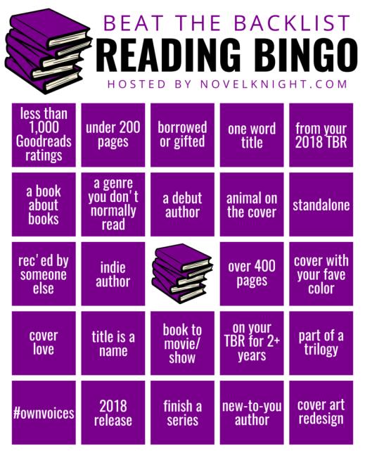 Beat the Backlist Reading Challenge by Novelknight, Bingo Card