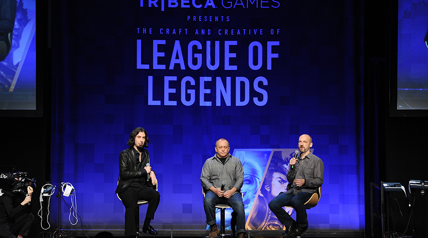 NEW YORK, NY - NOVEMBER 13: James Portnow, Lead Game Designer for Riot Games, Greg Street and Stone Librande attendthe Tribeca Games Presents The Craft And Creative Of League Of Legends on November 13, 2015 in New York City. (Photo by Craig Barritt/Getty Images for Tribeca Games)