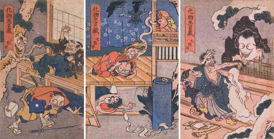 utagawa kuniyoshi, THE MONSTER'S CHUSHINGURA, 1839-1842