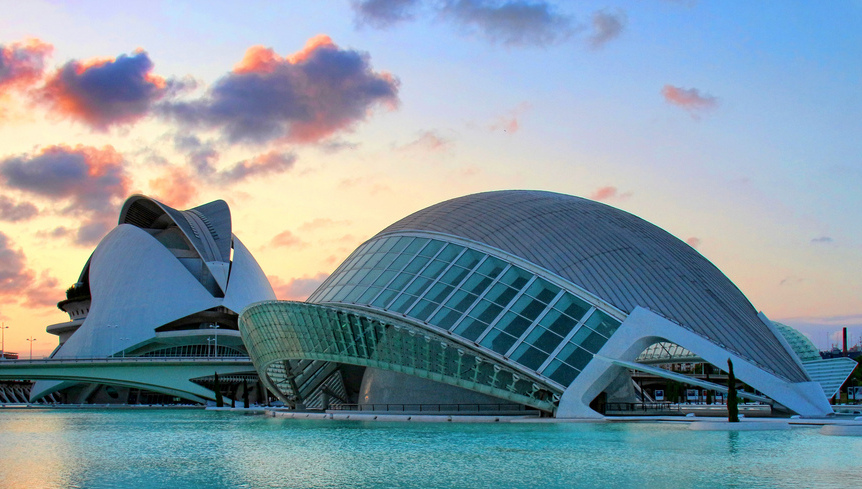 Sunset in the City of Arts and Sciences, Valencia, Spain