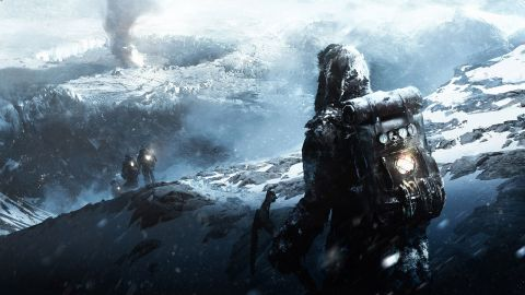 Frostpunk concept art, featuring a figure in heavy camping gear following a few other figures down a snowy mountain. everything is frozen and dire