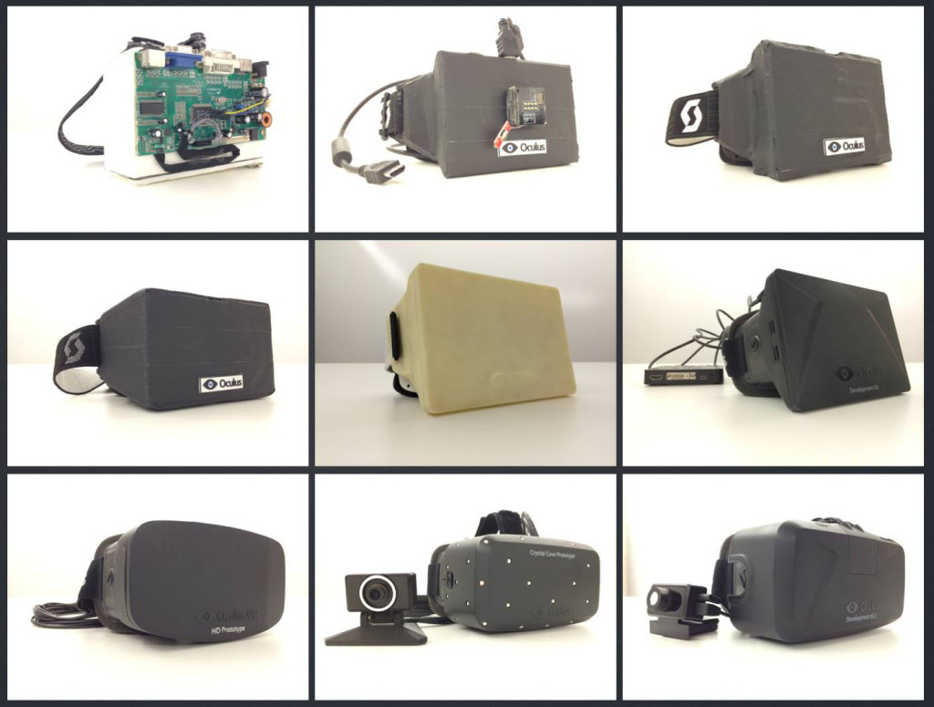 The history of the Oculus Rift from top left to bottom right