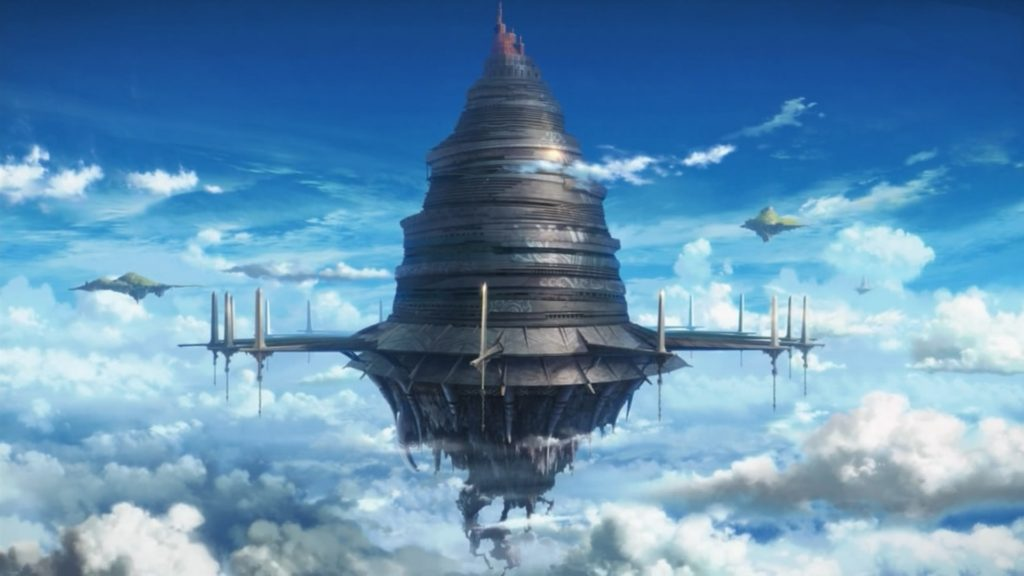 I'm going to be honest: I'm not into Sword Art Online. But this floating building looks cool.
