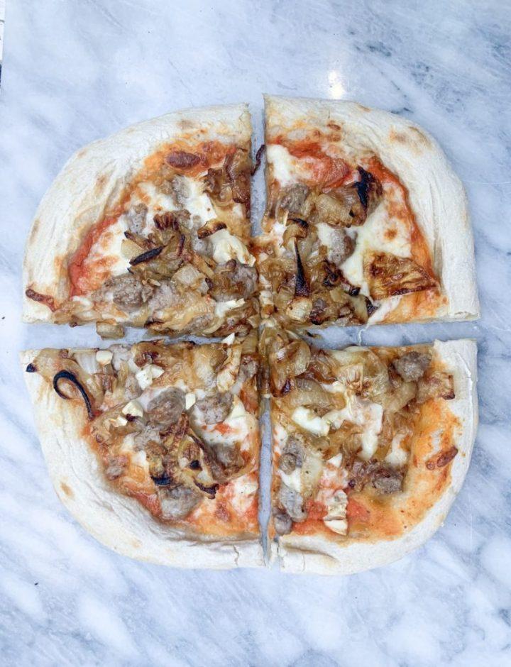 caramelized onion & sausage sourdough pizza