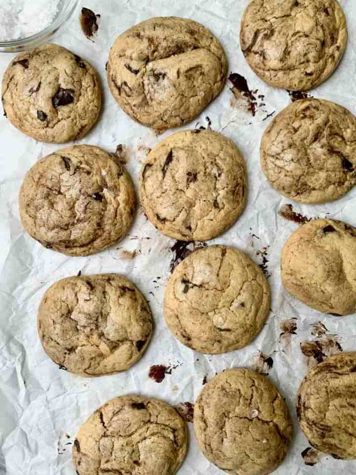 a photo of brown butter chocolate chip cookies with maldon salt