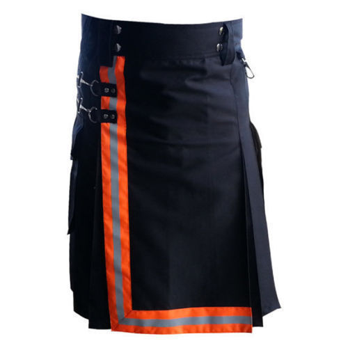 Black-Firefighter-Kilt-with-high-visible-reflector-Orange-Reflectors