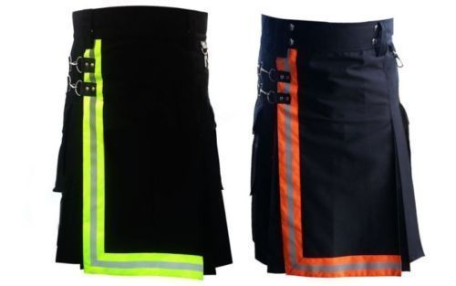 Black-Firefighter-Kilt-with-high-visible-reflector-Orange-and-Green