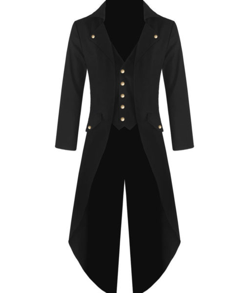 Black Handmade Steampunk Tailcoat Jacket Black Gothic Victorian Coat (1)