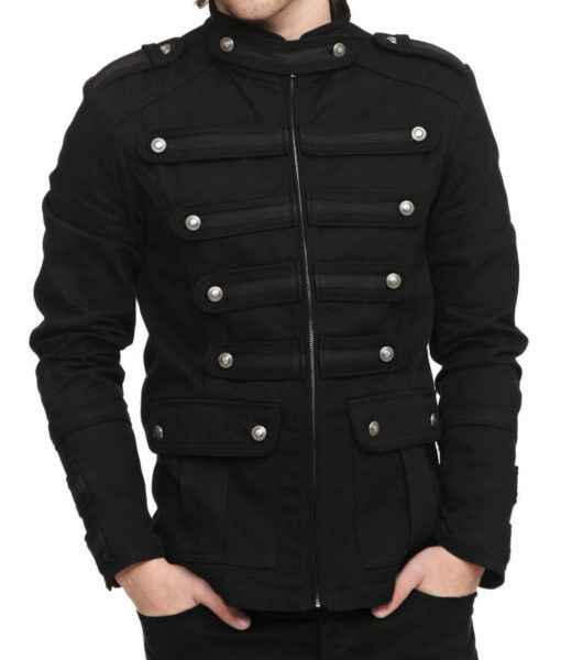 Black-Military-Jacket-Goth-Steampunk-Vintage-Pea-Coat-Front-Model-510×600