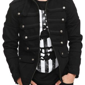 Black Guard Military Jacket Steampunk Vintage Pea Coat