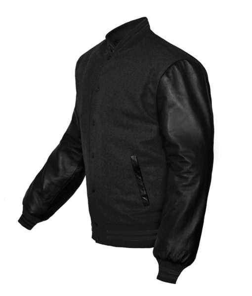 Letterman College Varsity Wool Jacket with Genuine Leather Sleeve