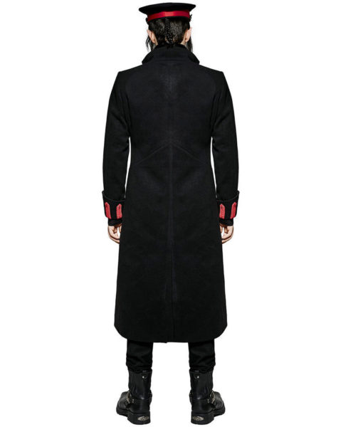 Men Military Long Coat Jacket Black Red Goth Steampunk Regency Aristoc (2)
