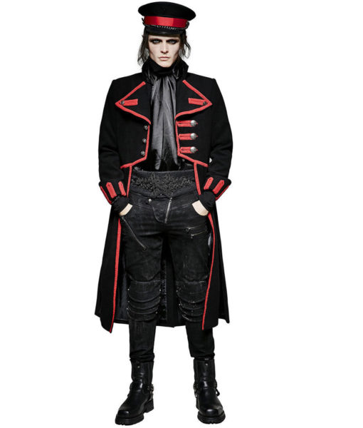 Men Military Long Coat Jacket Black Red Goth Steampunk Regency Aristoc (5)
