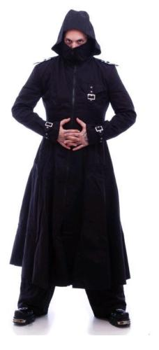 Men-black-hooded-trench-coat-goth-punk-Long-Jacket-custom-front