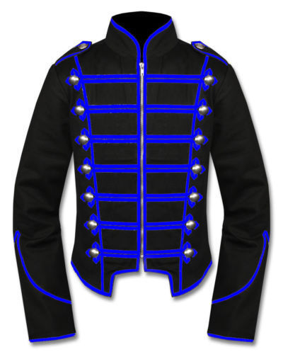 Mens-Blue-Black-Military-Marching-Band-Drummer-Jacket-New-Style-Front