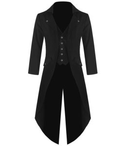 Mens Gothic Tailcoat Jacket Black Steampunk VTG Victorian Coat