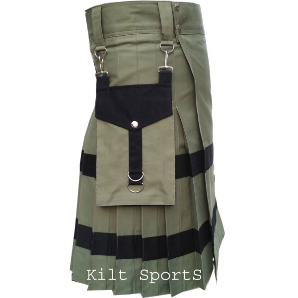 Olive-Scottish-Sports-Traditional-Fashion-Kilt-left