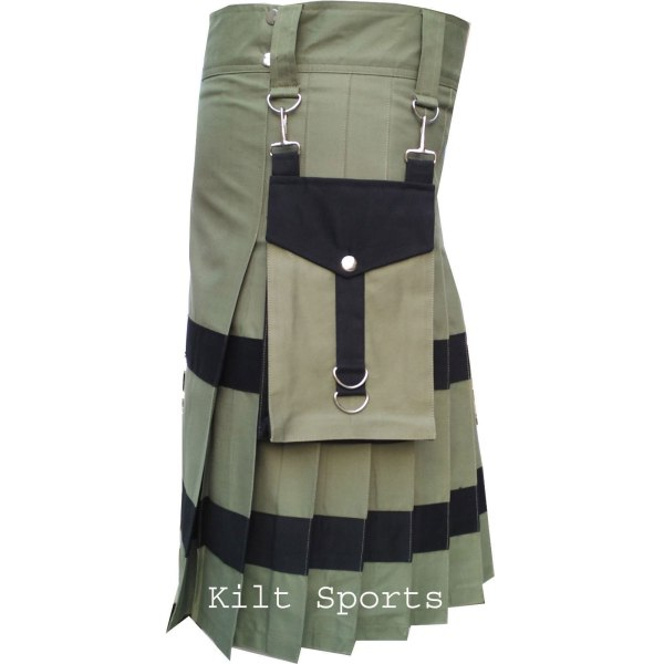 Olive-Scottish-Sports-Traditional-Fashion-Kilt-pocket