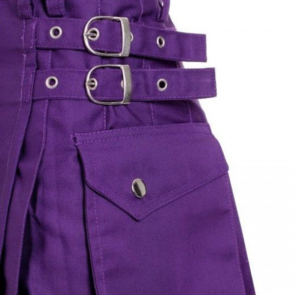 Scottish-Highland-Purple-Utility-Pleated-Kilts-Buckles