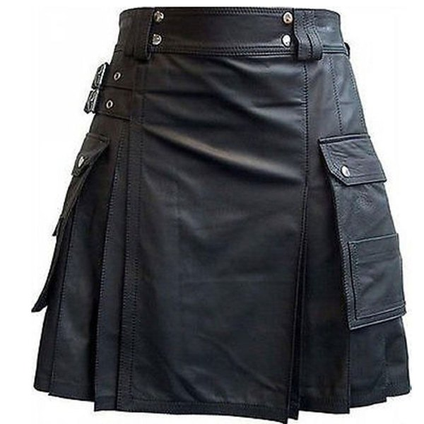 black-leather-kilt-with-twin-cargo-pockets-front