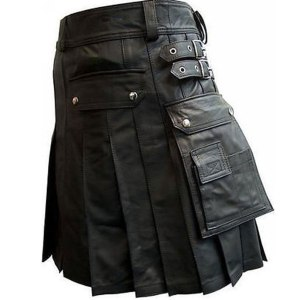 black leather kilt with twin cargo pockets side