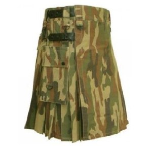 Camo Utility Fashion Kilt with Leather Strap