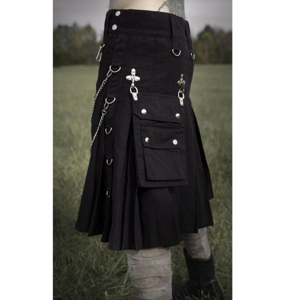 Modern Gothic Fashion Adjustable Detachable Pocket Kilt