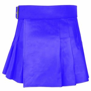 short mini blue leather kilt