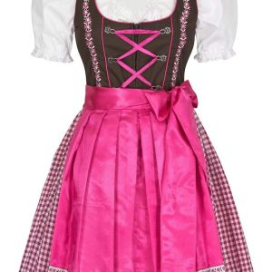 New Stylish Pink and White Ethnic 3 Piece German Oktoberfest Trachten Dirndl Dress