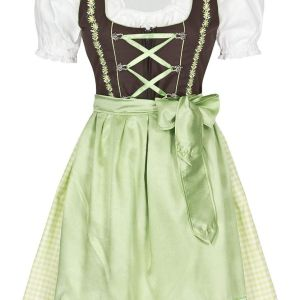 New Traditional Stylish Green and White Ethnic 3 Piece German Bavarian Oktoberfest Trachten Dirndl Dress for Sale