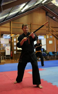 Sensei Ian Holdaway with the Bo.