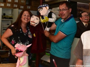 Happy adults with puppets during the Puppet workshop in Almonte