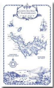 100% Linen Kitchen Tea Towel St. Barth souvenir blue white nautical map