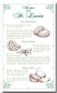 100% Linen Kitchen Tea Towel white green, recipes, fruits, soursop, banana, mango