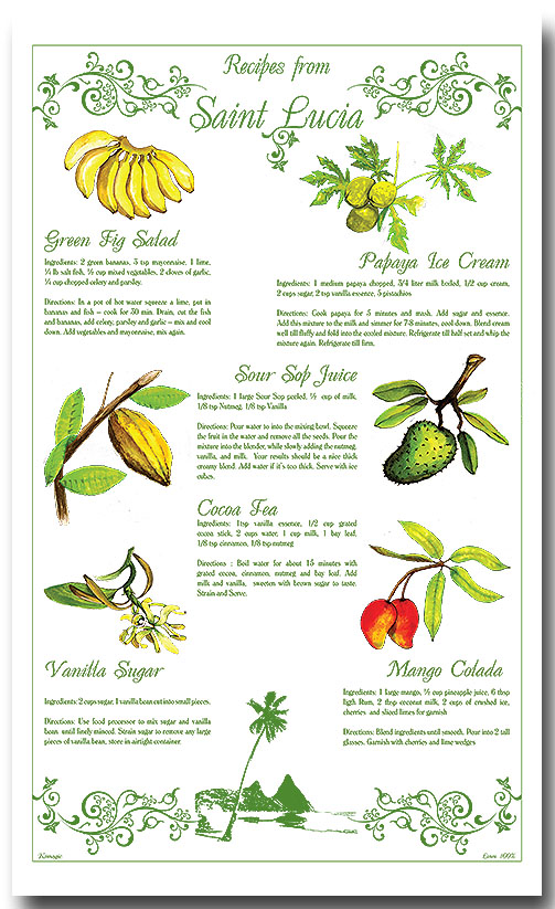100% Linen Kitchen Tea Towel St. Lucia souvenir color, fruit, recipes