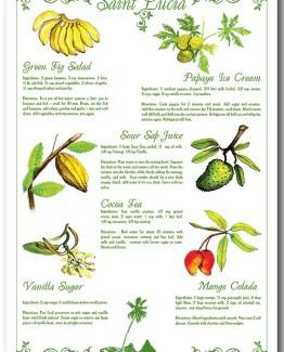 100% Linen Kitchen Tea Towel St. Lucia souvenir color, fruit, recipes