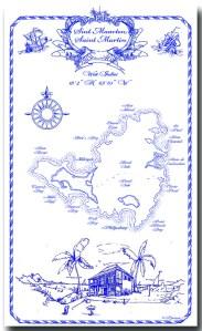 100% Linen Kitchen Tea Towel St. Maarten souvenir, navy on white, nautical