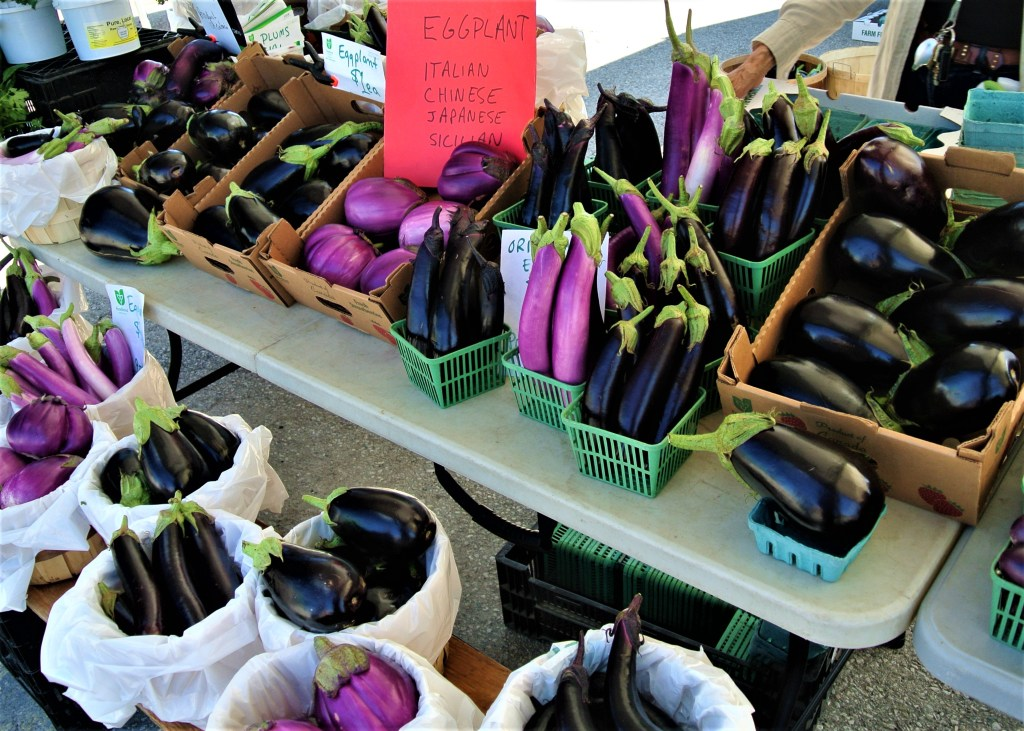 Eggplant International Variety at St. Jacobs Farmers Market - many different colours shares and tastes!