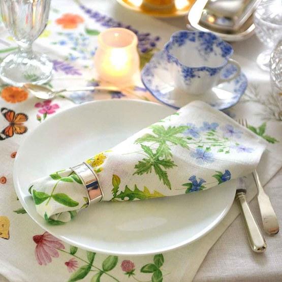 Linen Napkin, Colourful Wild Flowers