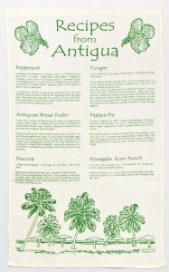 Linen Dish Towel Recipes from Antigua Green Print