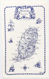 Linen Tea Towel Grenada Caribbean Island Nautical Style Map Kitchen Decor