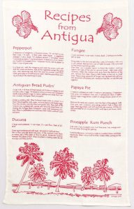 Linen Dish Towel Recipes from Antigua Red Print