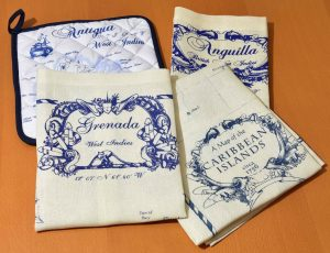 Linen Tea Towels and Potholder set Nautical Style in Blue