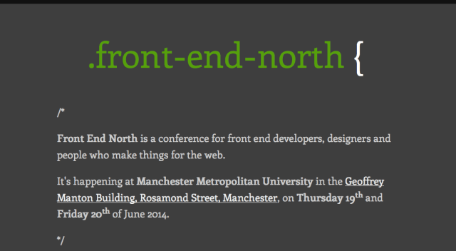 The Front End North 'coming soon' page