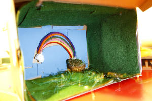 Jon Austria/The Daily Times Haleigh Allen's leprechan trap features a pot of gold at the end of a rainbow.